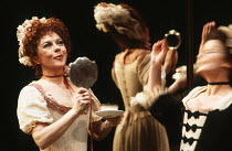THE PROVOK'D WIFE by Sir John Vanbrugh design: Carl Toms lighting: Robert Bryan director: Peter Wood <br> l-r: Dorothy Tutin (Lady Fancyfull), Brenda Blethyn (Madamoiselle - blurred) Lyttelton Theatre...