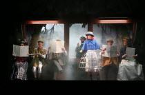 ALICE'S ADVENTURES UNDER GROUND music & libretto: Gerald Barry conductor: Thomas Ades design & direction: Antony McDonald lighting: Fabiana Piccoli movement: Lucy Burge <br> on the train - centre: Cl...