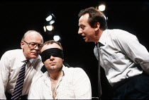 THE NEW WORLD ORDER written & directed by Harold Pinter design: Ian MacNeil lighting: Kevin Sleep <br> l-r: Michael Byrne (Lionel), Douglas McFerran (Blindfolded Man), Bill Paterson (Des) Theatre Ups...