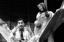THE NIGHT OF THE IGUANA by Tennessee Williams design: Bob Crowley lighting: Jean Kalman director: Richard Eyre <br> Alfred Molina (The Reverend Shannon), Frances Barber (Maxine Faulk) Lyttelton Theatr...