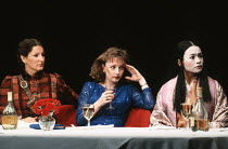 TOP GIRLS by Caryl Churchill design: Anabel Temple lighting: Robin Myerscough-Walker director: Max Stafford-Clark <br> l-r: Deborah Findlay (Isabella Bird), Lesley Manville (Marlene), Sarah Lam (Lady...