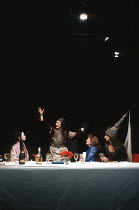 TOP GIRLS by Caryl Churchill design: Anabel Temple lighting: Robin Myerscough-Walker director: Max Stafford-Clark <br> l-r: Sarah Lam (Lady Nijo), Lesley Sharp (Dull Gret), Lesley Manville (Marlene),...