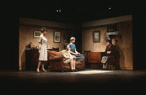 TOUCHED by Stephen Lowe set design: Frank Conway costumes: Joanna Taylor lighting: Andy Phillips director: William Gaskill <br> l-r: Sharon Duce (Joan), Marjorie Yates (Sandra), Kathryn Pogson (Betty)...