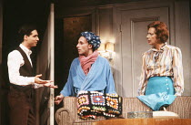 TORCH SONG TRILOGY by Harvey Fierstein set design: Bill Stabile costumes: Jane Robinson lighting: Gerry Jenkinson director: Robert Allan Ackerman <br> l-r: Ian Sears (David), Antony Sher (Arnold Becko...
