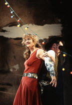 MUCH ADO ABOUT NOTHING by Shakespeare design: Neil Warmington lighting: Rick Fisher director: Matthew Warchus <br> Janet McTeer (Beatrice), Mark Rylance (Benedick) Queen's Theatre, London W1 06/07/199...