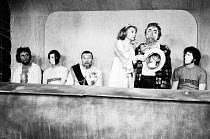 HAMLET by Shakespeare  adapted & directed by Charles Marowitz <br>  l-r: Laertes, Rosencrantz, Claudius, Gertrude, Clown, Guildenstern Open Space Theatre, London W1 1975 (c) Donald Cooper/Photostag...
