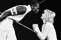 OTHELLO by Shakespeare design: Robin Don adapted & directed by Charles Marowitz <br> Rudolph Walker (Othello), Judy Geeson (Desdemona) The Open Space Theatre, London W1 08/06/1972 (c) Donald Cooper/Ph...