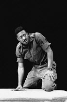 OTHELLO by Shakespeare design: Henk Schutt lighting: Chic Reid directors: Sue Dunderdale & Hugh Quarshie <br> Clarke Peters (Othello) Greenwich Theatre, London SE10 1989 (c) Donald Cooper/Photostage p...