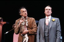 JUMPERS by Tom Stoppard design: Carl Toms lighting: David Hersey director: Peter Wood <br> l-r: Paul Eddington (George Moore), Simon Cadell (Archie) Aldwych Theatre, London WC2 01/04/1985 (c) Donald C...