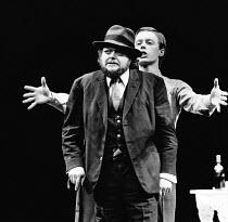 THE TEMPEST by Shakespeare design: Paul Bannister lighting: Chris Ellis director: Michael Bogdanov <br> l-r: Bill Wallis (Prospero), Stephen Boxer (Ariel) New Shakespeare Company / Old Vic, London SE1...