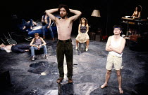 REAL DREAMS by Trevor Griffiths design: Russell Craig lighting: Geraint Pughe director: Ron Daniels <br> front, l-r: Garry Cooper (Yancy), Michael McNally (Ringo) rear: Helena Little (Sally), Francine...