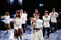 REAL DREAMS by Trevor Griffiths design: Russell Craig lighting: Geraint Pughe director: Ron Daniels <br> tai chi - the company Royal Shakespeare Company (RSC), The Pit, Barbican Centre, London EC2 15/...