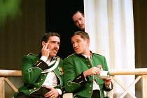 MUCH ADO ABOUT NOTHING by Shakespeare design: Nick Ormerod lighting: Judith Greenwood director: Declan Donnellan <br> Benedick overhears Don Pedro and Claudio - l-r: Stephen Mangan (Don Pedro), Bohdan...