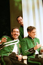 MUCH ADO ABOUT NOTHING by Shakespeare design: Nick Ormerod lighting: Judith Greenwood director: Declan Donnellan <br> Benedick overhears Don Pedro and Claudio - l-r: Stephen Mangan (Don Pedro), Matthe...