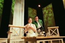 MUCH ADO ABOUT NOTHING by Shakespeare design: Nick Ormerod lighting: Judith Greenwood director: Declan Donnellan <br> Saskia Reeves (Beatrice), Matthew Macfayden (Benedick) Cheek by Jowl / Playhouse T...