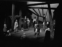 RING O' ROSES by Alan Cullen set design: Edward Furby costumes: Sarah Morton director: Colin George <br> on plinth: Wilfred Harrison (William Mompesson) with villagers of Eyam Sheffield Playhouse, Sh...