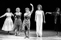 FOLLIES music & lyrics by Stephen Sondheim book: James Goldman design: Maria Bjornson choreography: Bob Avian director: Mike Ockrent <br> centre, l-r: Julia McKenzie (Sally Plummer), Lynda Baron (Ste...