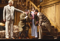 ROOKERY NOOK by Ben Travers design: Michael Annals lighting: Leonard Tucker director: Frank Dunlop <br> l-r: Terence Frisby (Clive Popkiss), Andrew Robertson (Harold Twine), Nina Thomas (Rhoda Marley)...