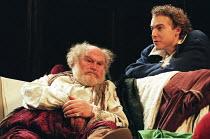 HENRY IV by Shakespeare design: Pamela Howard director: Stephen Unwin <br> l-r: Timothy West (Sir John Falstaff), Samuel West (Hal) English Touring Theatre (ETT), Old Vic, London SE1 30/01/1997 (c) Do...