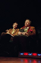 THE REAL INSPECTOR HOUND by Tom Stoppard design: Robert Jones lighting: Howard Harrison director: Gregory Doran <br>~l-r: David Tennant (Moon), Desmond Barrit (Birdboot) a Warehouse production / Comed...