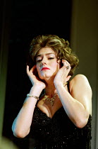 THE REAL INSPECTOR HOUND by Tom Stoppard design: Robert Jones lighting: Howard Harrison director: Gregory Doran <br>Anna Chancellor (Cynthia)a Warehouse production / Comedy Theatre, London SW1 22/04/1...