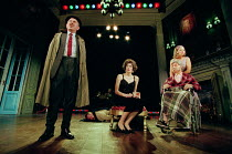 THE REAL INSPECTOR HOUND by Tom Stoppard design: Robert Jones lighting: Howard Harrison director: Gregory Doran <br> l-r: Geoffrey Freshwater (Inspector Hound), Anna Chancellor (Cynthia), Gary Waldhor...