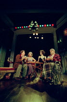 THE REAL INSPECTOR HOUND by Tom Stoppard design: Robert Jones lighting: Howard Harrison director: Gregory Doran <br> left: Desmond Barrit (Birdboot), Sara Crowe (Felicity), Anna Chancellor (Cynthia),...
