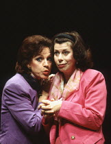 l-r: Polly Hemmingway (Mistress Page), Elizabeth Estensen (Mistress Ford) in THE MERRY WIVES OF WINDSOR by Shakespeare at the Lyric Theatre Hammersmith, London W6 14/12/1993 a Northern Broadsides prod...
