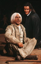 l-r: Ben Kingsley (Caracol), Anton Lesser (Carlos Montezuma) in MELONS by Bernard Pomerance at the Royal Shakespeare Company (RSC), The Pit, Barbican Centre, London EC2 18/12/1985 music: Guy Woolfende...