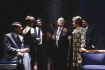 PARTY TIME by Harold Pinter design: Mark Thompson lighting: Mick Hughes director: Harold Pinter <br> front, l-r: Roger Lloyd Pack (Fred), Nicola Pagett (Charlotte), Gawn Grainger (Douglas), Barry Fos...