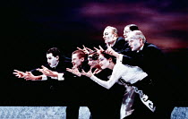 SALOME by Oscar Wilde set design: Robert Ballagh costumes: David Blight lighting: Trevor Dawson director: Steven Berkoff <br>~Jews, Nazarenes, Romans - Guests at the Dinner~Lyttelton Theatre, National...