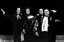 SALOME by Oscar Wilde set design: Robert Ballagh costumes: David Blight lighting: Trevor Dawson director: Steven Berkoff <br> 2nd left: Carmen Du Sautoy (Herodias) right: Steven Berkoff (Herod) Lytt...
