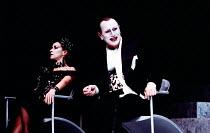 SALOME by Oscar Wilde set design: Robert Ballagh costumes: David Blight lighting: Trevor Dawson director: Steven Berkoff <br> Carmen Du Sautoy (Herodias), Steven Berkoff (Herod) Lyttelton Theatre, Nat...