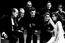 SALOME by Oscar Wilde set design: Robert Ballagh costumes: David Blight lighting: Trevor Dawson director: Steven Berkoff <br> front left: Steven Berkoff (Herod) right: Katharine Schlesinger (Salome) L...