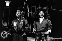 SANCTUARY by Ralph Brown design: Jenny Tiramani lighting: Chris Toulmin director: Paulette Randall <br> l-r: Pamela Nomvete, Rita Wolf Joint Stock Theatre Group / Drill Hall, London WC1 28/10/1987 (c)...