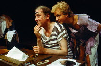 A LIFE IN THE THEATRE by David Mamet set design: Robert Dein costumes: Frances Haggett lighting: Francis Reid director: Alan Pearlman <br> l-r: Freddie Jones (Robert), Patrick Ryecart (John) Open Spac...