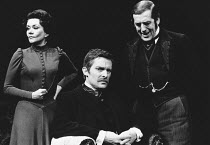 ROSMERSHOLM by Henrik Ibsen set design: Roger Butlin costumes: Daphne Dare director: Robin Phillips <br> l-r: Joan Plowright (Rebecca West), Jeremy Brett (John Rosmer), John Nettleton (Dr Kroll) Green...