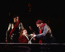 HENRY V by Shakespeare set design: Neil Warmington costumes: Kandis Cook lighting: Charles Edwards fights: Terry King director: Matthew Warchus <br> l-r: Steven Elliott (Gower), Clive Wood (Pistol), L...