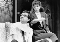 THE NERD by Larry Shue design: Roger Glossop lighting: John B Read director: Mike Ockrent <br> Rowan Atkinson (Rick Steadman), Mary Maddox (Tansy) Aldwych Theatre, London WC2 03/10/1984 (c) Donald Coo...