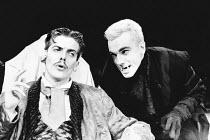 DRACULA written & directed by Chris Bond after Bram Stoker design: Billy Meall lighting: Jimmy Simmonds <br> l-r: Peter Capaldi (Harker), Daniel Day Lewis (Dracula) Half Moon Theatre, London E1 23/11/...