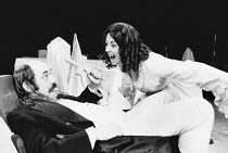 DRACULA written & directed by Chris Bond after Bram Stoker design: Billy Meall lighting: Jimmy Simmonds <br> Richard Ireson (Crebbs), Judy Holt (Lucy) Half Moon Theatre, London E1 23/11/1984 (c) Donal...