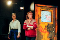 RITA, SUE AND BOB TOO by Andrea Dunbar design: Es Devlin lighting: Johanna Town sound: Paul Arditi director: Max Stafford-Clark <br> l-r: Emma Rydal (Sue), Jane Wood (Mum) an Out of Joint / Liverpool...