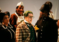 THE WIND IN THE WILLOWS by Kenneth Grahame adapted by Alan Bennett design: Mark Thompson lighting: Paul Pyant director: Nicholas Hytner <br> Toad in court - l-r: Carol Macready (Bargewoman), Griff Rhy...