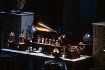 PYGMALION by George Bernard Shaw design: William Dudley lighting: Mark Henderson director: Howard Davies <br> apparatus in Professor Higgins' Wimpole Street laboratory Olivier Theatre, National Theat...