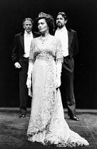 PYGMALION by George Bernard Shaw set design: Carl Toms costumes: Bob Ringwood lighting: John B Read director: Denise Coffey <br> Eliza ready for presentation as a duchess - l-r: Tim Seely (Colonel Pi...