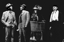 PYGMALION by George Bernard Shaw set design: Carl Toms costumes: Christine Rowland lighting: John B Read director: Denise Coffey <br> l-r: Richard Easton (Henry Higgins), Peter Stockbridge (Sarcastic...