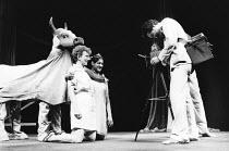 THE GREAT CELESTIAL COW by Sue Townsend set design: Amanda Fisk costumes: Pam Tait & Amanda Fisk lighting: Geoff Mersereau choreography: Sue Lefton director: Carole Hayman <br> l-r: Lou Wakefield, Fer...