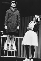JOHN MORTIMER'S CASEBOOK design: Bernard Culshaw lighting: Richard Caswell director: Denise Coffey <br> l-r: John Alderton, Nigel Hawthorne The Young Vic, London SE1 12/1981 (c) Donald Cooper/Photosta...