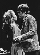 Lois Daine (Helena Charles), Nicky Henson (Jimmy Porter) in LOOK BACK IN ANGER by John Osborne at The Young Vic, London SE1  11/12/1972  set design: Patrick Robertson costumes: Rosemary Vercoe lighti...