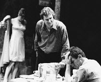 l-r Susan Wooldridge (Alison Porter), John Labanowski (Jimmy Porter), Christopher Ashley (Cliff Lewis) in LOOK BACK IN ANGER by John Osborne at The Young Vic, London SE1  02/1979  design: Marty Flood...